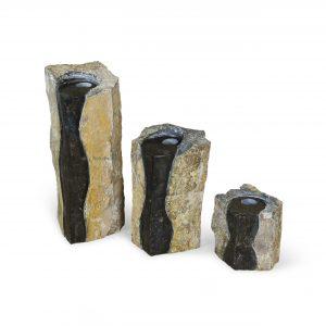 Double-Textured Basalt Columns Set of 3