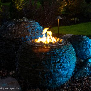 Fire and Water Stacked Slate Sphere - Medium