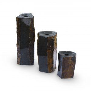 Semi-Polished Stone Basalt Columns Set of 3